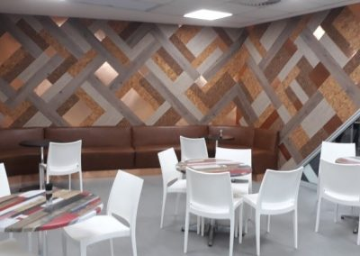 SAB Rosslyn Feature Walls Using Mixed Media of Cork, Vinyl, Brass